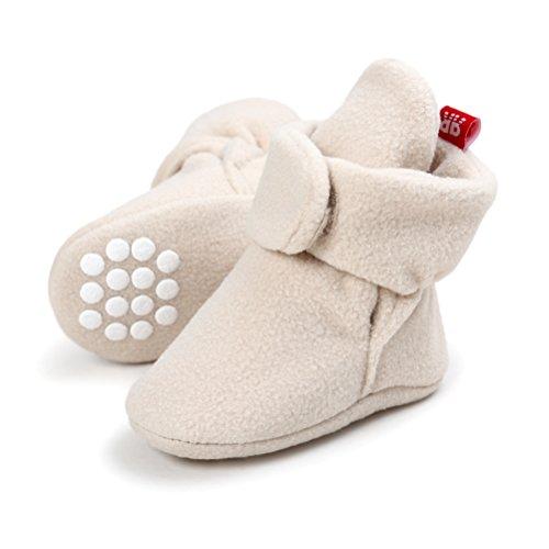 EDOTON EDOTON Unisex Neugeborenes Schneestiefel Weiche Sohlen Streifen Bootie Kleinkind Stiefel Niedlich Stiefel Socke Einstellbar (0-6 Monate, Khaki)