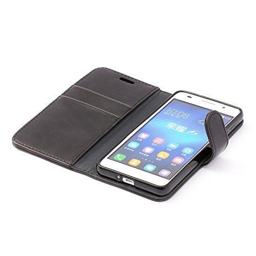 Mulbess Handyhülle für Honor 6 Hülle, Leder Flip Case Schutzhülle für Huawei Honor 6 Tasche, Schwarz - 4
