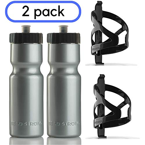 50 Strong Bike Bottle Holder with Water Bottle  2 Pack  22 oz BPA Free Bicycle Squeeze Bottle and Durable Plastic Holder Cage Made in USA Silver