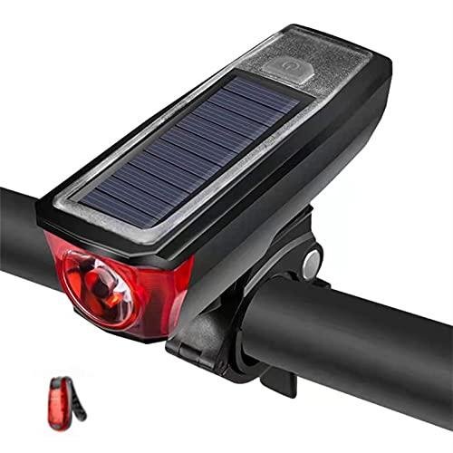 N / B Juego de luz de Bicicleta Ultra Brillante, Cuerno de Bicicleta Solar de 120dB, Interruptor de Sensor Inteligente, 350 lúmenes 4 Modo Fuera DE Bicicleta DE Bicicleta, con LUZ DE Cola