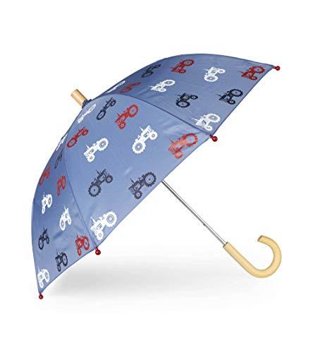 Hatley Jungen Printed Umbrellas Regenschirm, Blau (Farm Tractors 400), One size (Herstellergröße: O/S)