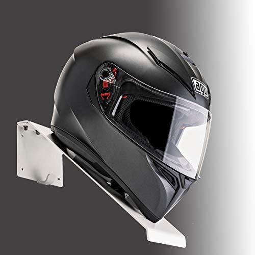 BESTUNT Soporte para casco, para moto, estantería, almacenamiento, fijación en la pared, color blanco