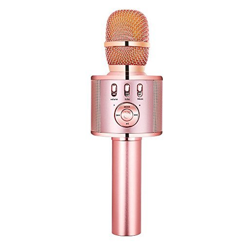 VERKB Wireless Karaoke Microphone with Speaker and FM, Mothers Day Gift Idea, 5in1 Magic Sound Portable Bluetooth karaoke Machine for Smartphone Home KTV, Party (Rose Gold)