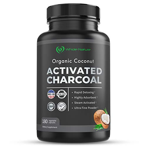 Whole Nature 180 Capsules Pure Organic Coconut Activated Charcoal Supplements Natural Pills for Body Detox Digestive System Teeth Whitening Detoxification Gas Stomach Bloating Tablets
