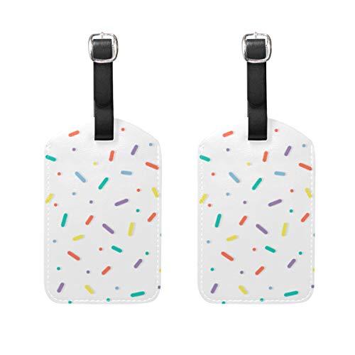 WINCAN Gepäckanhänger (Sortiert, 2 PK),Nahtloses Muster-bunter Konfetti besprüht DonutGepäckanhänger, Kofferanhänger für Rucksäcke