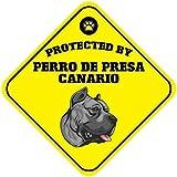 Kysd43Mill Cartel de Cruz de Perro de Presa Canario, de Aluminio, para decoración del hogar, de Metal, 30,5 x 30,5 cm
