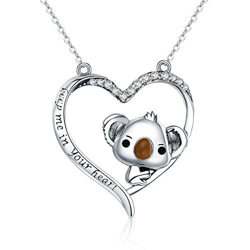 Collana con ciondolo a forma di cuore con koala, in autentico argento Sterling 925 di alta qualità