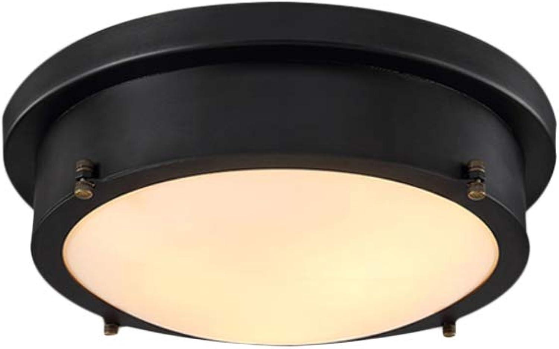 CUICANH LED Encastré Plafoniere,Dimmable Industrielle Rétro Fer Pourgé Abat-jour en verre Modèle de pays américain Lampe de plafond Pour Chambre Noir-A-12W-lumière chaude 25cmx12cm