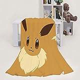 MEW Anime Poke-mon mantas ligeras, Eevee, suave y acogedora manta de forro polar de franela para adultos y niños, sala de estar, dormitorio, estudio, sofá cama y viajes de playa, 152,4 x 127 cm