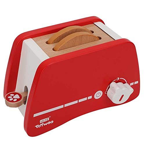 Boquite Kinderküchenspielzeug, Kinder täuschen Spiel vor, das hölzernes Toaster-Brot-Hersteller-Set kocht(Toaster)
