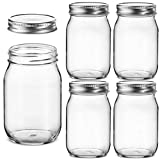 Regular-Mouth Glass Mason Jars, 16-Ounce (5-Pack) Canning Jars with Silver Metal Airtight Lids for Meal Prep, Food Storage, Canning, Drinking, Overnight Oats, Jelly, Dry Food, Spices, Salads, Yogurt