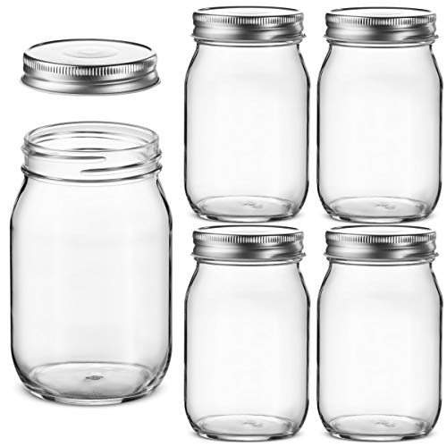 Glass Regular Mouth Mason Jars, 16 Ounce Glass Jars with Silver Metal Airtight Lids for Meal Prep, Food Storage, Canning, Drinking, Overnight Oats, Jelly, Dry Food, Spices, Salads, Yogurt (5 Pack)