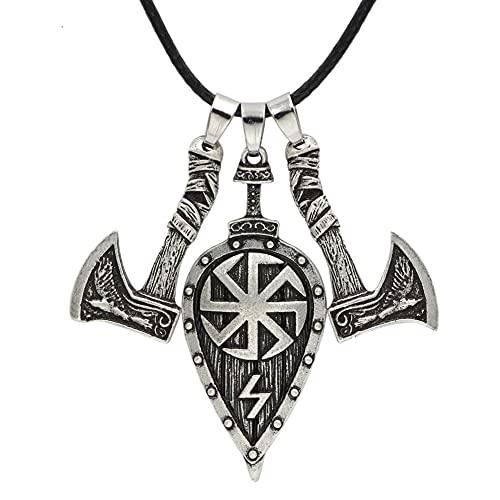 collar Collar Para Hombre, Colgante De Acero Inoxidable, Hacha Vikinga, Personalidad De Moda Retro, Patrón De Rayo Solar, Colgante, Joyería, Logística
