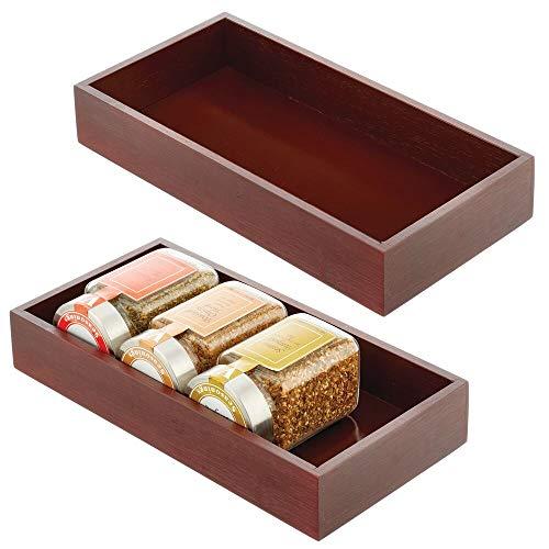mDesign Juego de 2 cajas de bambú – Cajón de almacenaje multiusos para armarios, cajones y superficies – Organizador de madera abierto de bambú ecológico – marrón oscuro