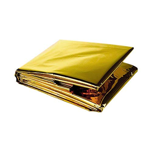 ASA Techmed Emergency Mylar Thermal Blanket, Foil Rescue Space Blanket - Gold - Designed for NASA, Outdoors, Survival, Hiking, Natural Disasters, First Aid, Marathons (1)