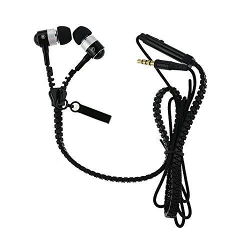 Asnlove In-Ear Kopfhörer mit Reißverschluss Kabel Zipper Design Mikro und ON/OFF Funktionen 3.5 mm Stereo Stecker für Apple iPhone 6/6S/6 Plus/6s Plus,Samsung Galaxy J5/A5/S6 Edge/S8,Sony Xperia Z2/Z3/M2/M4, Huawei P7/P8/P8 Lite/P9/P10 usw (Schwarz)