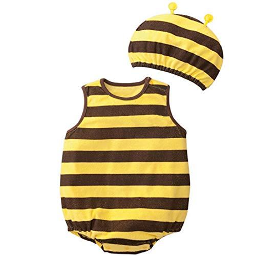 CuteOn 2 Paquete de ropa sin mangas unisex Dibujos de algod¨®n para beb¨¦s Body casquillo del sombrero Abeja 95cm(L)