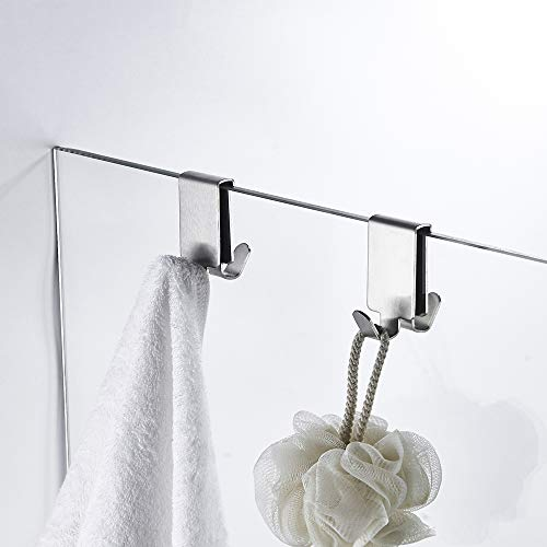 Double Hooks for Glass Shower Door, Towel Hooks Over The Bathroom Glass Wall up to 0.23 in, Stainless Steel, Brushed,2 Pack.