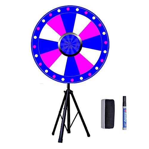 Rueda de la suerte de 24 pulgadas con trípode, juego de ruedas de juguete para juegos de lotería, juegos de palabras, incluye goma de borrar y rotulador