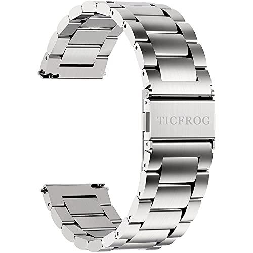 TICFROG 時計バンド ベルト20mm ステンレス 20ミリ 316lステンレス スマートウォッチバンド ベルト 腕時計バンド 20mm 交換ベルトステンレス 金属ベルト20mm シルバー