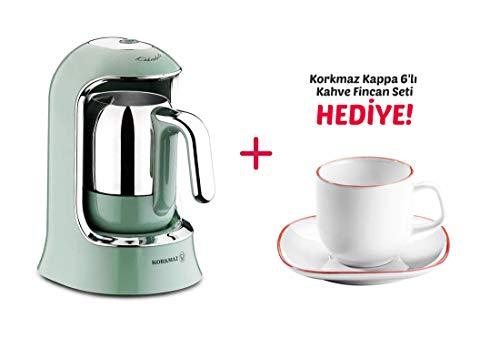 Korkmaz Kahvekolik Espressomaschine Mokkamaschine 400Watt 7x Varianten + Mokkatassen Geschenk Kahvekolik A860-04 (Türkis), Mokkatassen A8667 (Weiß/Rot)