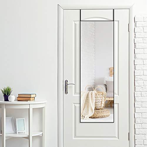 """Wall Mirror Full Length and Door Mirror, 47""""×16"""", Aluminum Frame Full Length Mirror, Full Body Mirror, Over The Door Mirror, Door Hanging Mirror (Black)"""