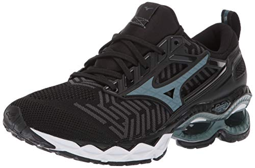 Mizuno Women's Wave Creation 20 Knit Running Shoe, Black-Dark Shadow, 7.5 B US