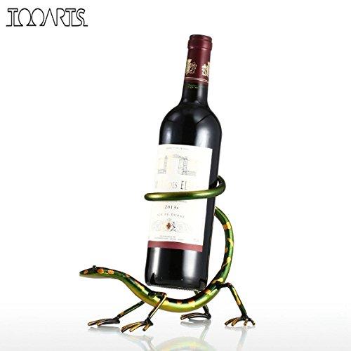 tooarts Funny Gecko botellero soporte de botella soporte de barra escultura rojo vino de hierro estante de metal decoración del hogar manualidades