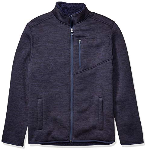 IZOD Men's Big and Tall Premium Essentials Sherpa Jersey Jacket, PEACOAT, Large