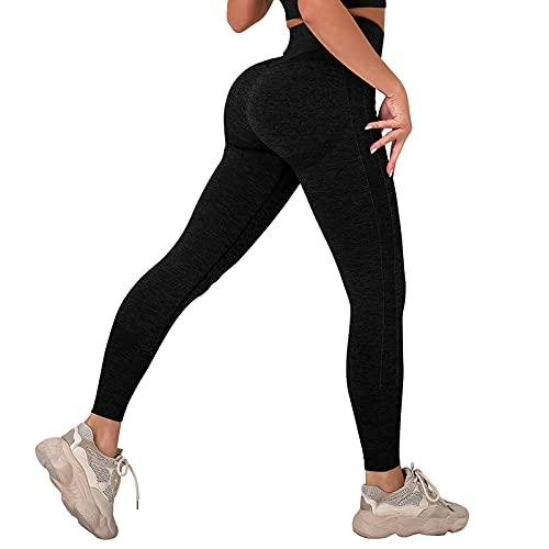 MoneRffi Damen Anti-Cellulite Yogahose Push Up Leggings Boom Booty Leggings Hohe Taille Sportleggins Sport Leggings Tik Tok Leggings Sexy Fitnesshose Yogahosen (A-schwarz?M)