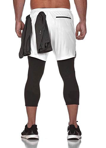 CMTOP Pantalones Cortos Legging Mallas Pantalones Deportivos Hombre Deporte Chándal Deportivos Compresión Interna con Bolsillos y Trabillas para Toallas Correr Entrenamiento Ciclismo