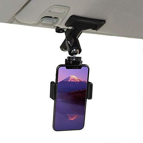車載ホルダー スマホホルダー クリップ 360度回転 頑丈固定 携帯 スタンド サンバイザー 後部座席 使用可能 Android iPhone Xperia Galaxy SONY Huawei 多機種対応 4-6.5インチ