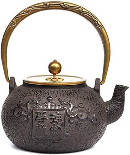 Juego de té de hierro fundido simple y grueso material 1 2L suave y delicado juego de té de hierro fundido herida a mano