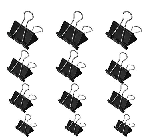 TIMESETL 100Stück Foldback Klammern, 15 mm/ 19mm/ 25mm/ 32mm Foldbackklammer, Klein Mini Papierklammern Büroklammern Metall Binder Clips Vielzweckklammern für Notizen Briefpapier