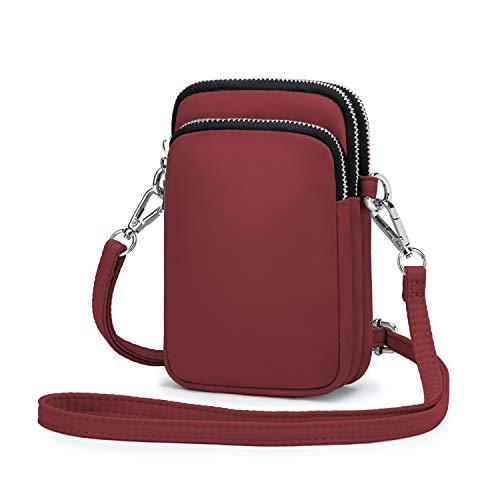 Wind Took Handy Schultertasche Kleine Damen Umhängetasche Handytasche Brieftasche Kartentasche Crossbody Bag Mini Sack, Weinrote