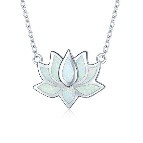 Lotus blomhalsband 925 sterlingsilver opal halsband för kvinnor yoga hänge smycken för flicka...