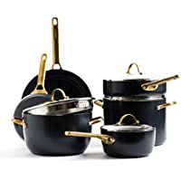 10-Piece GreenPan Padova Reserve Healthy Ceramic Nonstick, Cookware Pots and Pans Set (Black)