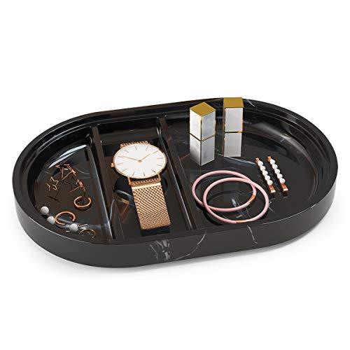 Luxspire Sminkbricka, harts badrum kök diskho byrå bricka smyckeskål med 3 fack, toalett tank bänkskiva organiserare för näsdukar parfymljus parfymtvål, marmor stil bricka - bläck svart