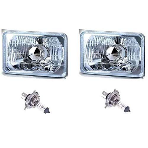 OCTANE LIGHTING 4X6 Halogen Semi Sealed H4 Headlight Headlamp Bulbs Diamond Crystal Clear Pair
