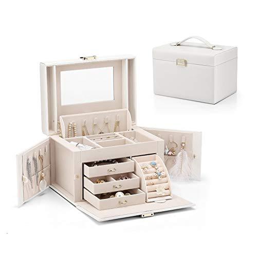 Caja Joyero Caja de almacenamiento de imitación de cuero joyero, joyería del recorrido del almacenaje de la caja, la caja de regalo de la vendimia (collar, pulsera, pendientes y anillo) Organizador de