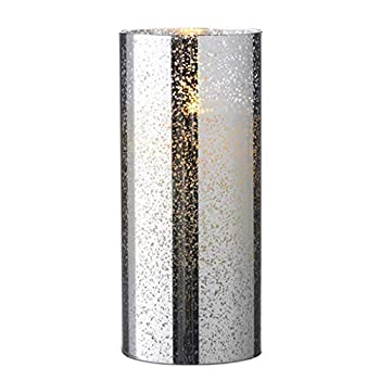 Liown 19753-8  Silver Mercury Glass Wax LED Pillar Candle with Timer