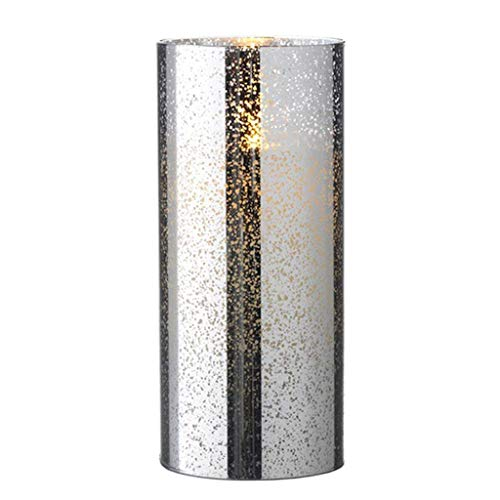 Liown 19753-8' Silver Mercury Glass Wax LED Pillar Candle with Timer