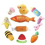 RoyalCare Quietschende Hundespielzeug 10 Stück, Plüsch Sound und kauen Obst Gemüse Spielzeug für Mittlerer bis Kleiner Hund