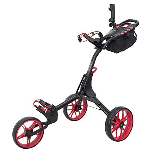 vilineke Chariot de golf compact à trois roues avec sac de rangement et porte-parapluie (rouge)