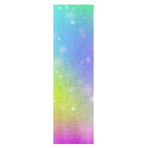 Kunst Niedlichen Regenbogen Bunt Skateboard Griffband Sandpapier Griptape Rutschfestes Blasenfrei Blatt 1 Stück Longboard Aufkleber Scooter 22,9 x 83,8 cm