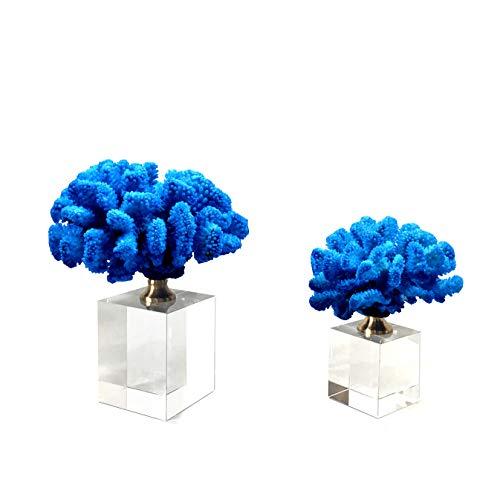 LBYLYH Objetos Decoracion Modernos Cristal Clásico Azul Coral Resina Artesanía Piezas Home Hotel Decoraciones