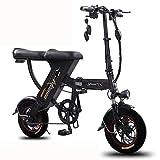 ZBB Bicicleta eléctrica Plegable Bicicleta eléctrica de Acero de Alto Carbono para Adultos Mujeres Hombres Batería de Litio de 48 V, Capacidad de Carga de 550 lbs,Negro,110to150KM