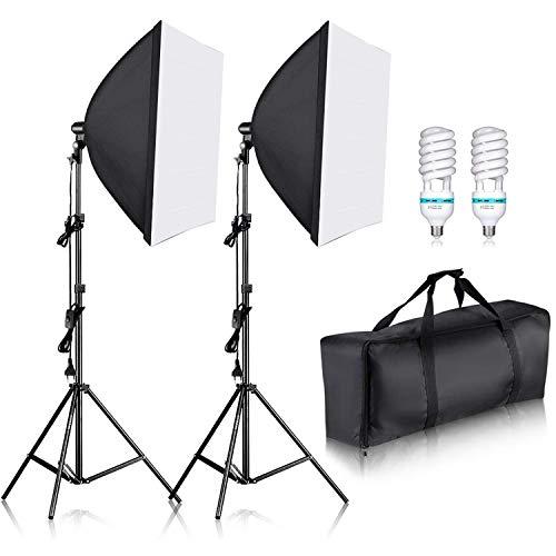 Neewer 700W 60x60cm Softbox con E27 Presa Elettrica Kit di Illuminazione per Ritratto da Studio Fotografico, Fotografia di Prodotti e Ripresa di Video