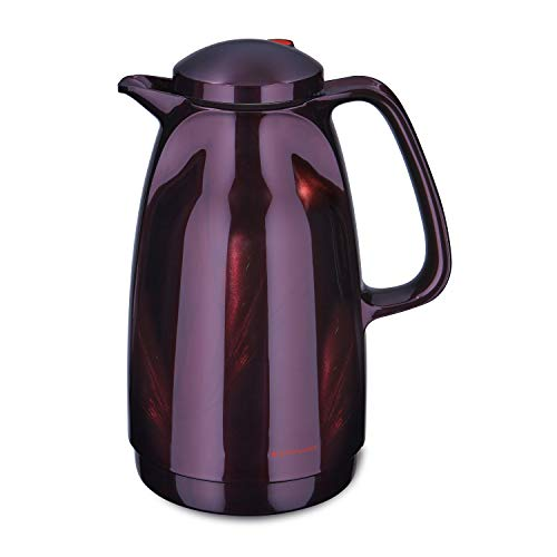 ROTPUNKT Isolierkanne 227 Bella 1,5 l | Zweifunktions-Drehverschluss | BPA-frei - gesundes Trinken | Made in Germany | Warm + Kalthaltung | Glaseinsatz | Black Cherry