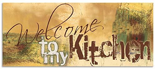 Artland Spritzschutz Küche aus Alu für Herd Spüle 120x50 cm Küchenrückwand mit Motiv Spruch Shabby Landhaus Kunst Willkommen Ocker H6ZJ